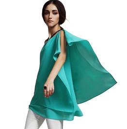 Women Asymmetrical Chiffon Batwing Sleeved Blouse Plus Size