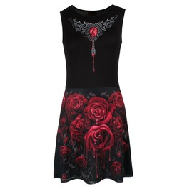 Spiral Blood Rose Mesh Layered Midi Skater Dress Alternative Gothic