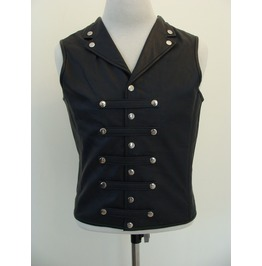 Mens Gothic Military Leather Waistcoat Black Goth Victorian Corset Vest