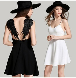Sexy Backless Angel Wing Black White Lace Wings Short Dress