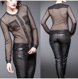 Women Mesh Blouse Gothic Mesh Shirt Blouse With Breast Pockets
