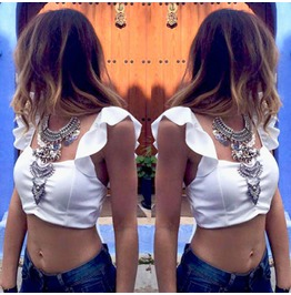 Summer Chiffon Backless Crop Top White