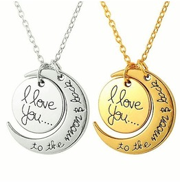 """Engravement Messages """"I Love You To The Moon And Back"""" Pendant Necklaces"""