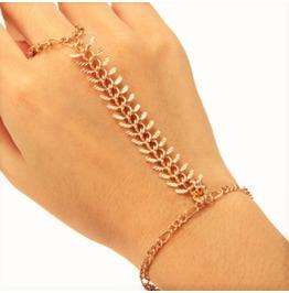 Boho Gold Plated Slave Finger Ring Fish Bone Rib Wrist Link Chain Bracelet