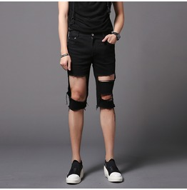 Street Fashion Punk Rock Men's Ripped Shorts Black Skinny Summer Short Pant