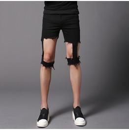 Punk Rock Unique Ripped Shorts Men's Goth Pants