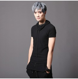 Punk Rock Men's Slim Fit T Shirts Fashion Mesh Patched Summer Tee