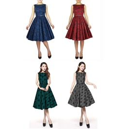 Green Grey Red Or Blue Floral Print Rockabilly 50s Swing Dress Free To Ship