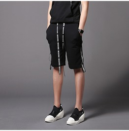 Personalized Men's Casual Shorts Black Fashion Cotton Pants