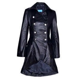 Women Gothic Victorian Leather Jacket Black Gothic Real Laced Back Coat