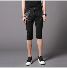 Punk Rock Men's Slim Fit Rivet Shorts