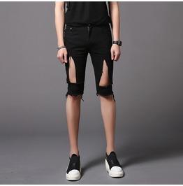 Punk Rock Distressed Shorts Ripped Skinny Pants