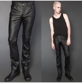 Mens Gothic Comfort Fit Synthetic Leather Pants Black Lip Pvc Jeans Pants