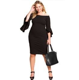 Slim Fit Women Dress With Ruffled Detail Plus Size