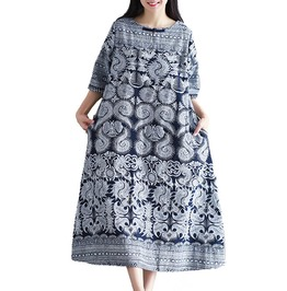 Half Sleeve Vintage Print Women Dress Plus Size