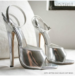 "18cm 7"" Hi Heel Stiletto Fetish Ankle Wrap Strap Sandals Metallic Silver"