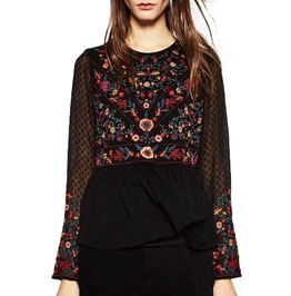 Vintage Boho Floral Embroidered Crochet Mesh Sleeves Ruffle Top