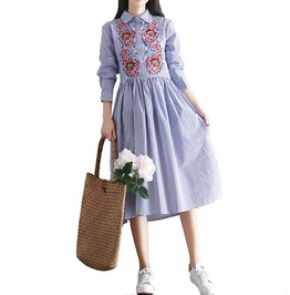 Vintage Floral Embroidery Pleated Women Long Sleeve A Line Dress
