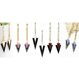 Elegant Punk Rockstar Triangle Gold Plated Long Chain Drop Earrings