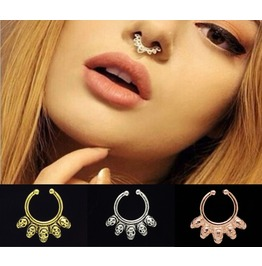 Septum Surgical Steel Nose Ring Hoop Non Piercing ~ Unisex ~ Skull