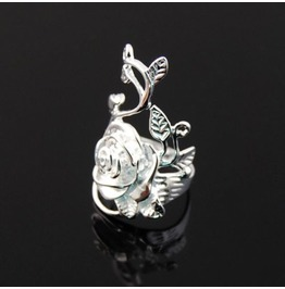 Charming Fashion 3 D .925 Sterling Silver Vine Flower Ring