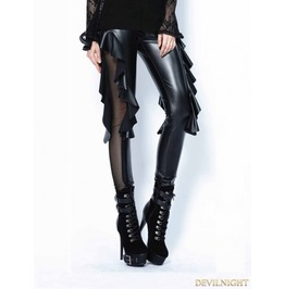 Black Gothic Sexy Flounce Legging Pants For Women Pw081