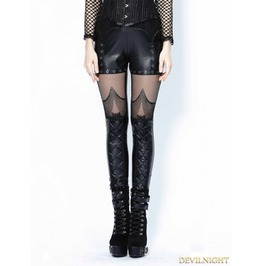Black Gothic Spider Legging Pants For Women Pw079
