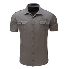 Men's Casual Slim Fitted Cotton Cargo Short Sleeve Shirt
