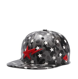 Unisex's Star Embroideried Faux Leather Baseball Cap Hip Hop Cap