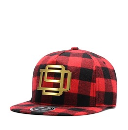 Unisex's Iron Patch Plaid Checkered Adjustable Snapback Baseball Cap