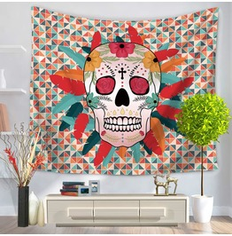 Unique Skull Print Wall Tapestries D27