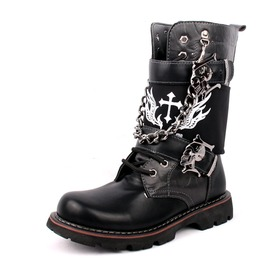 Men's Buckle Strap Lining Lace Up Punk Chain Army Boots Martin Boots