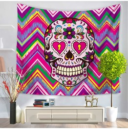 Unique Skull Print Wall Tapestries D30