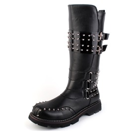 Men's Buckle Strap Punk Rivet Riding Boots Martin Boots
