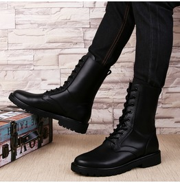 Plus Size Men's Lace Up Faux Leather Martin Boots Army Boots