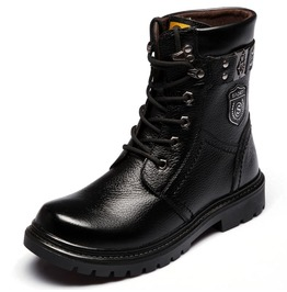 Men's Iron Buckle Strap Lace Up Martin Boots