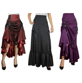 Black Purple Or Red Long Victorian Ruffle Gypsy Skirt Reg Plus Free To Ship