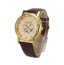 Unisex's Fashion Hollow Design Round Dial Faux Leather Strap Watch