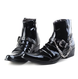 Men's Buckle Strap Chain Faux Leather Side Zipper Shoes Pointed Toe Boots