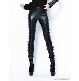 Black Gothic Leather Legging Pants For Women Pw075