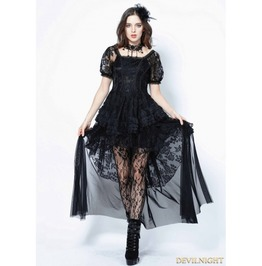 Black Gothic Lolita Puff Sleeves Lace Tail Dress Dw129
