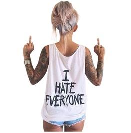 Summer Cool Tank Top Sleeveless Print Loose Punk T Shirt Blouse