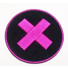 Black Circle And Pink Cross Embroidered Iron On Patch.