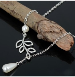 Elegant Freshwater White Pearl Silver Leaf Branch Chain Pendant Necklace