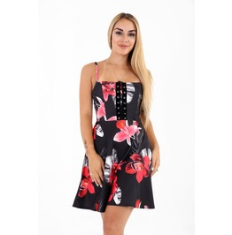 Eyelet Lace Up Trim Floral Skater Dress