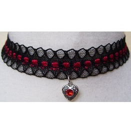 Gothic Victorian Black Red Lace Tibetan Silver Metal Heart Pendant Choker