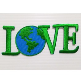 Green Love Earth Iron On Patch.