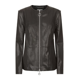 Collarless Neckline Classic Leather Jacket