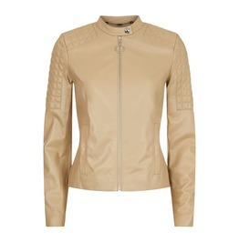 Round Neckline Leather Jacket
