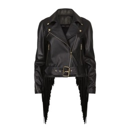 Fringed Trims Leather Biker Jacket